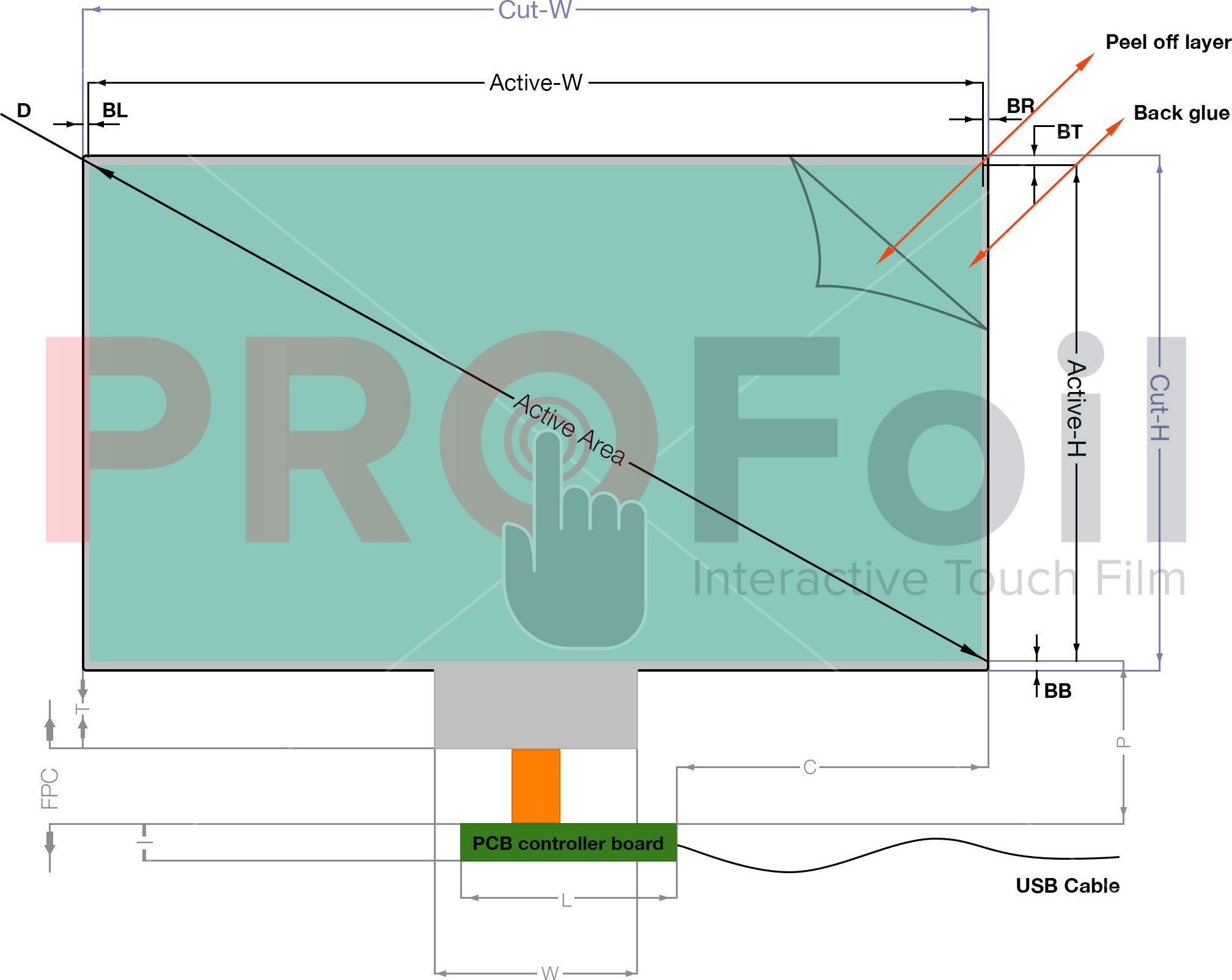 pro foil dual touch long side tail drawing