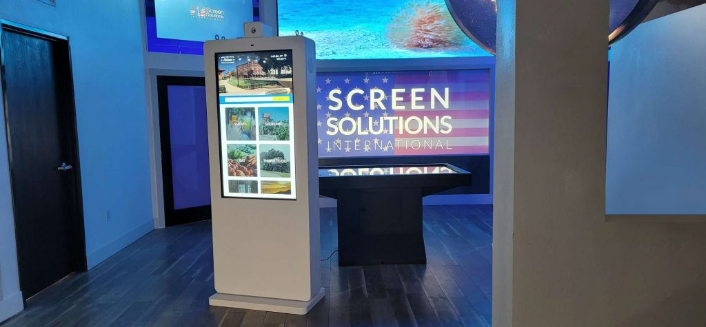 SSI Experience Center with standing touch kiosk