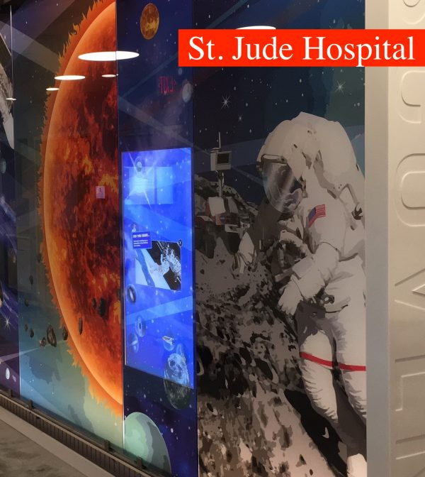St Jude Hospital thru glass touch screens